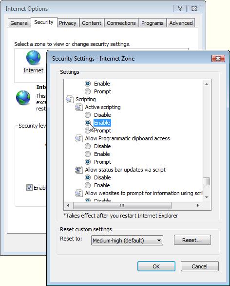 Enabling JavaScript in Internet Explorer 7