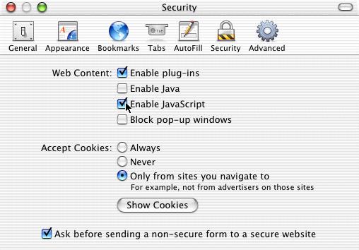 Enabling JavaScript in Safari